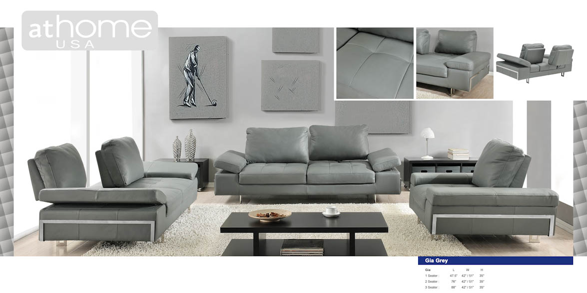 Gia Gray Full Italian Leather Sofa by At Home