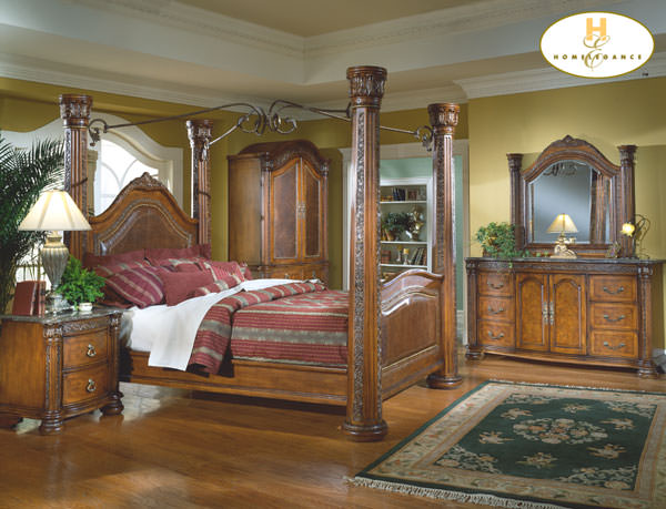 Spanish Hills Bedroom Set w/ Canopy Bed By Homelegance