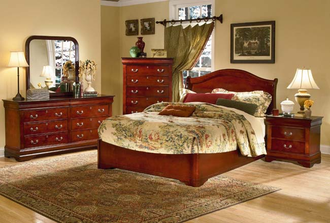 dijon martini cherry bedroom set by homelegance