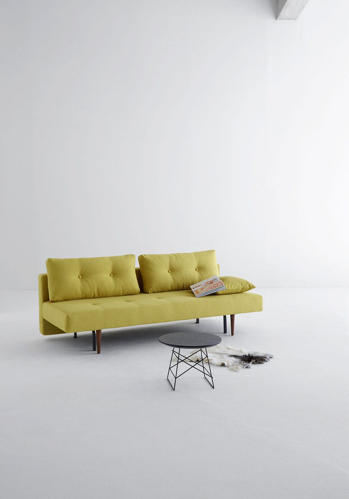 Recast Plus Sofa Bed Full Size Soft Mustard Flower By