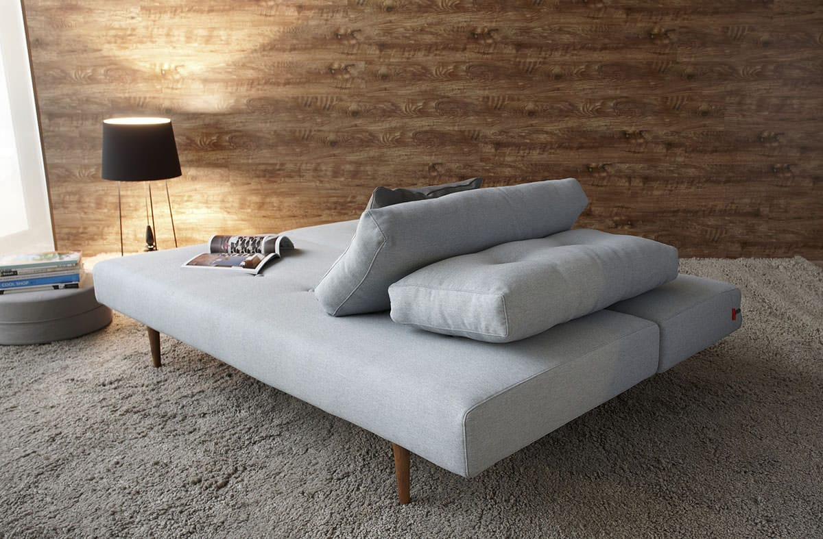 Recast Sofa Bed W Walnut Arms Full Size Soft Pacific Pearl By Innovation