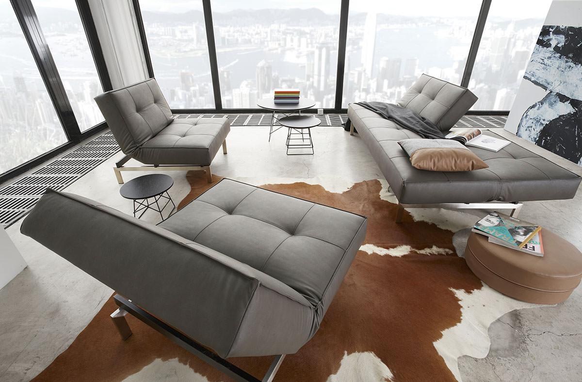 Lava Sofa splitback sofa bed w/arms nubucko lava leather textileinnovation