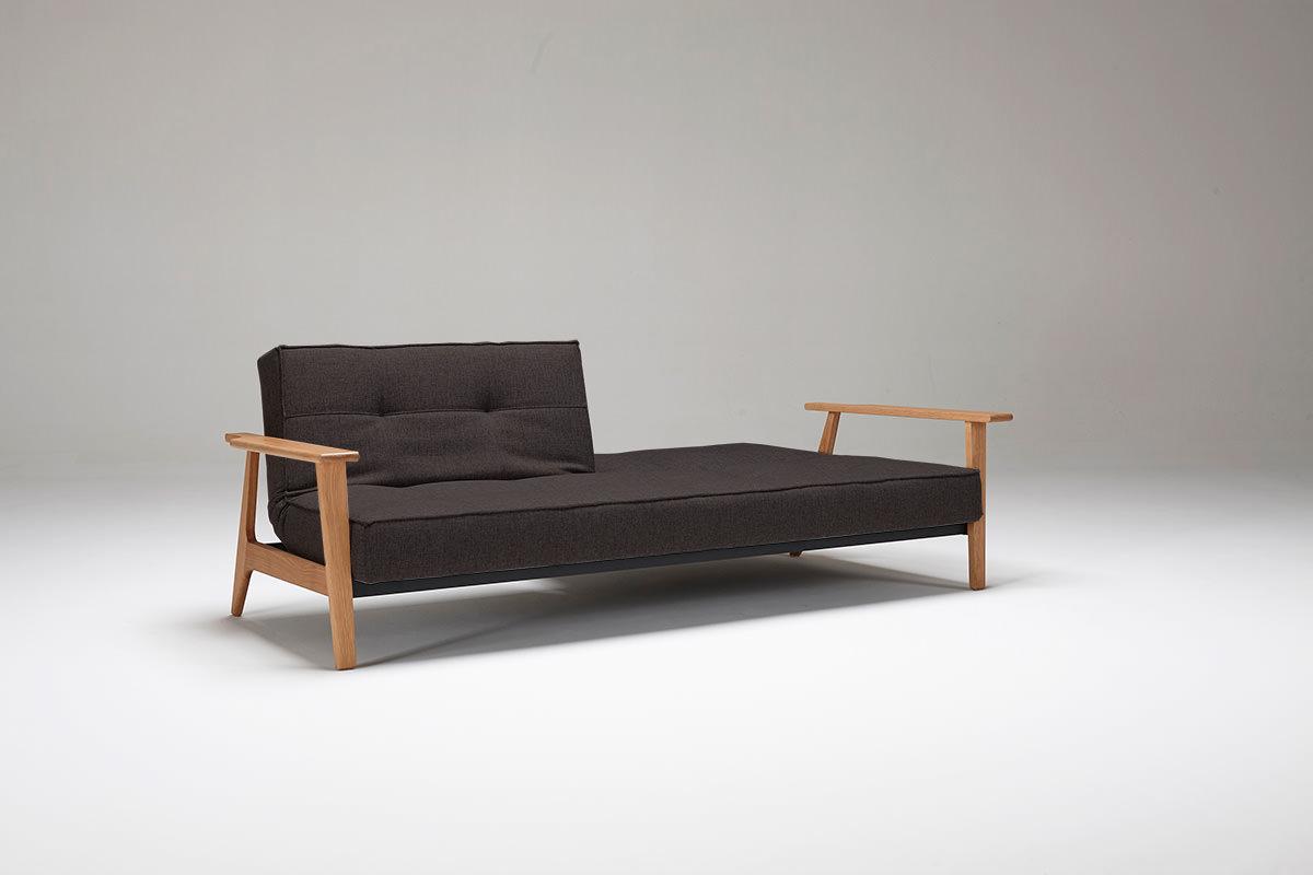 Splitback Sofa Bed W Frej Arms Begum Dark Brown By Innovation
