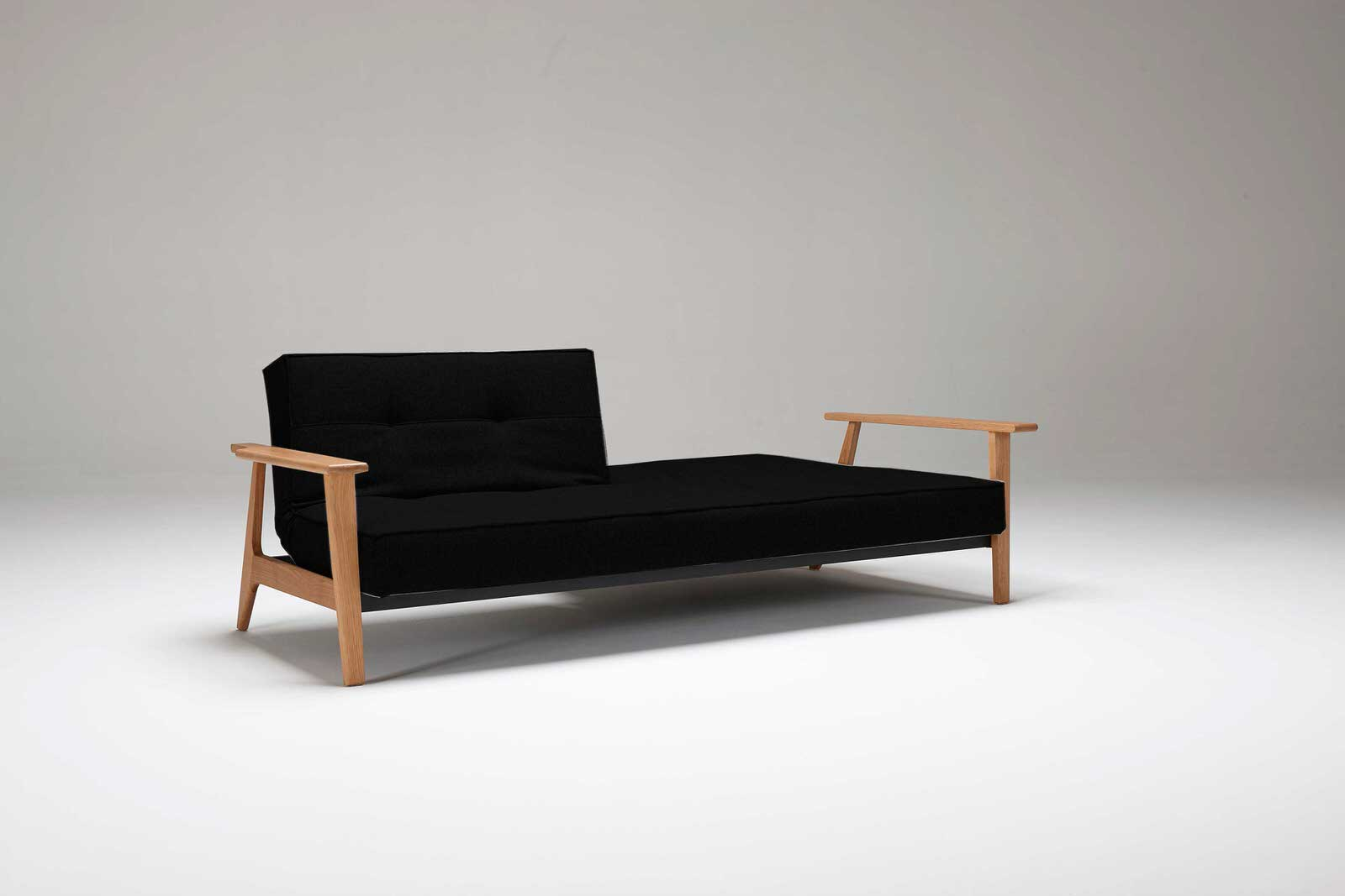 Splitback sofa bed w frej arms black leather textile by for Black divan bed with mattress