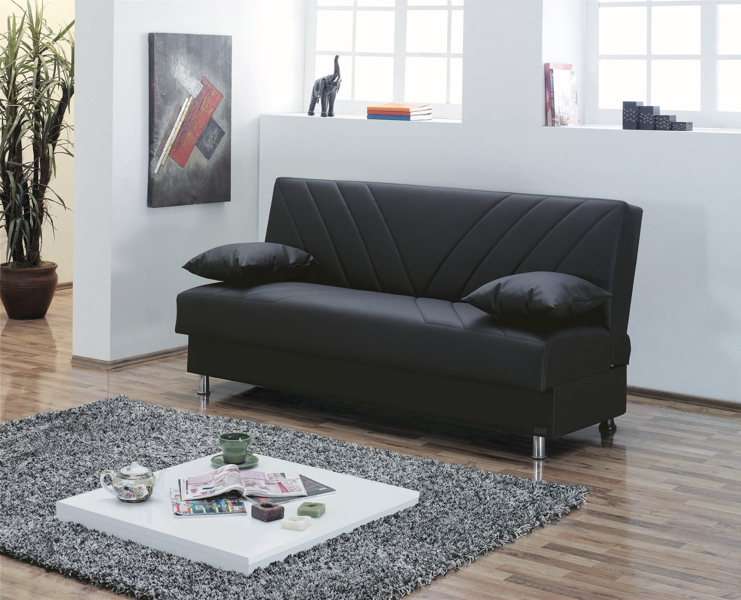 Halifax Black Leather Sofa Bed By Empire Furniture Usa