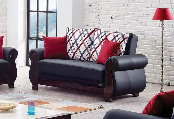 Stupendous Hampton Black Leather Loveseat By Empire Furniture Usa Andrewgaddart Wooden Chair Designs For Living Room Andrewgaddartcom
