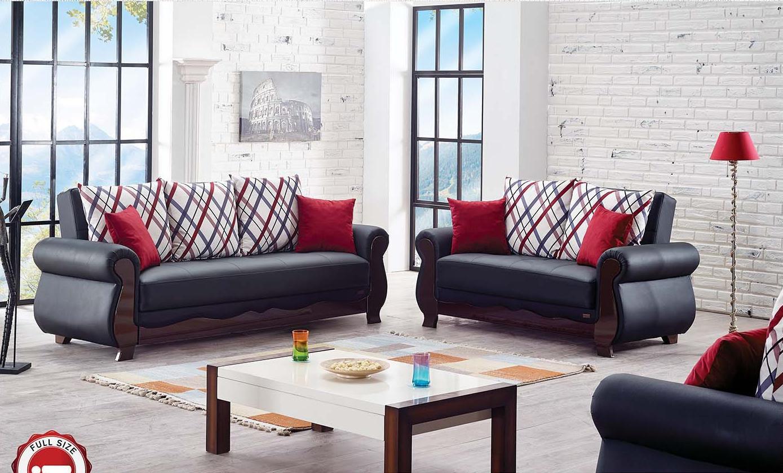 hampton black leather loveseat by empire furniture usa