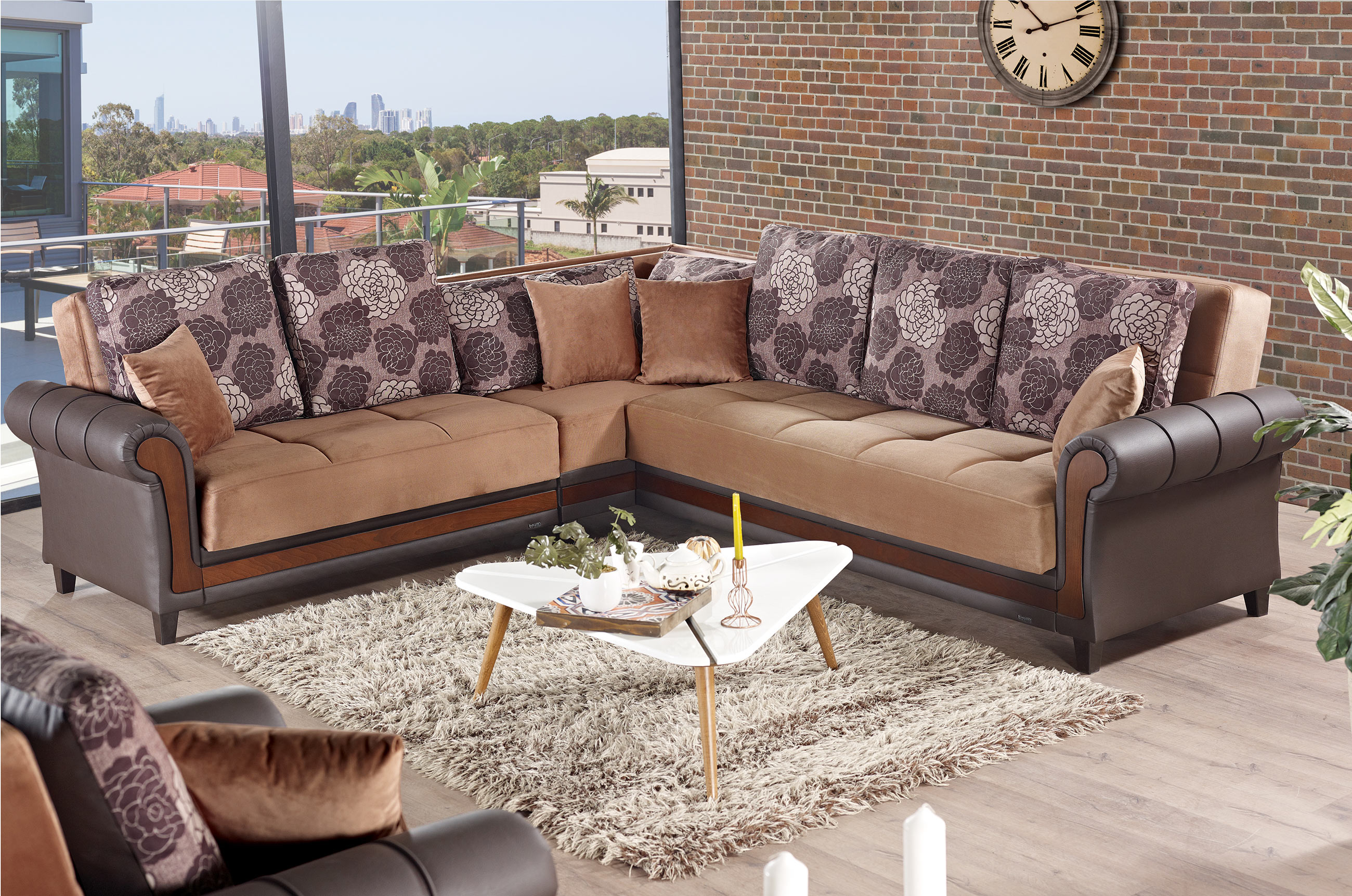 Idaho brown fabric sectional sofa by empire furniture usa for Divan furniture usa
