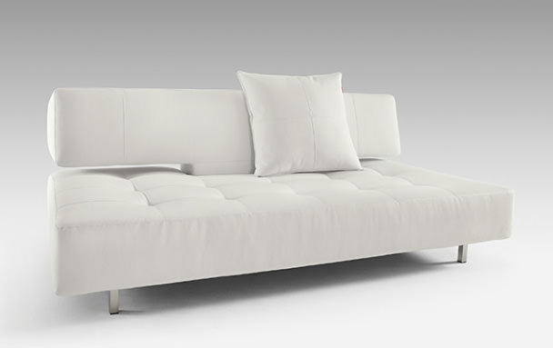 Long Horn Deluxe Excess Sofa Bed White Leather Textile By