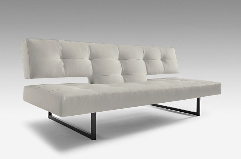 Spacer light grey leather textile sofa bed by innovation for Light gray leather sofa
