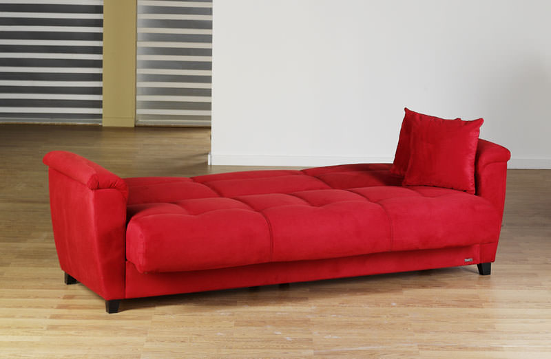 Aspen Rainbow Red Convertible Sofa Bed by Sunset