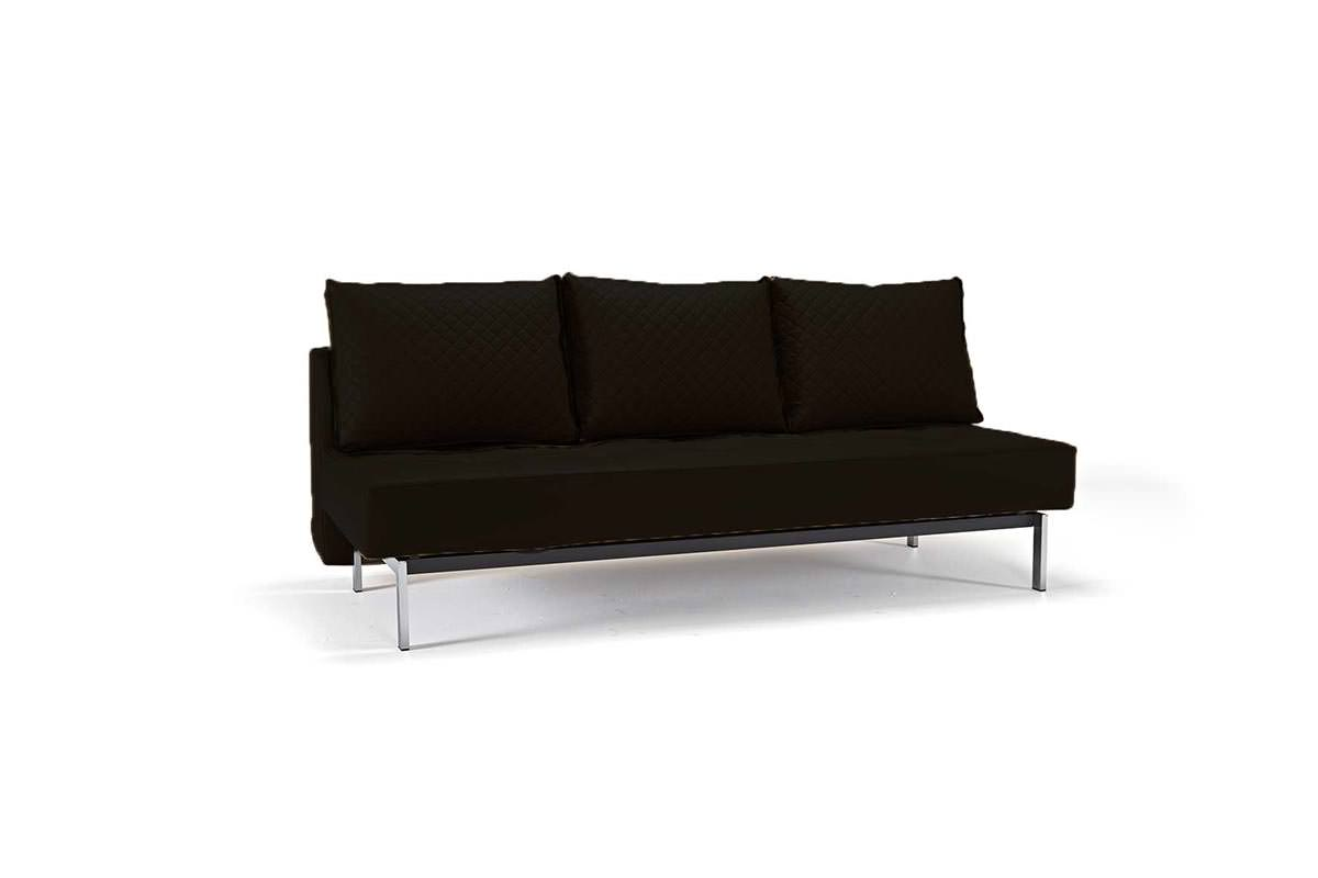 Sly Deluxe Q Sofa Bed Black Leather Textile By Innovation