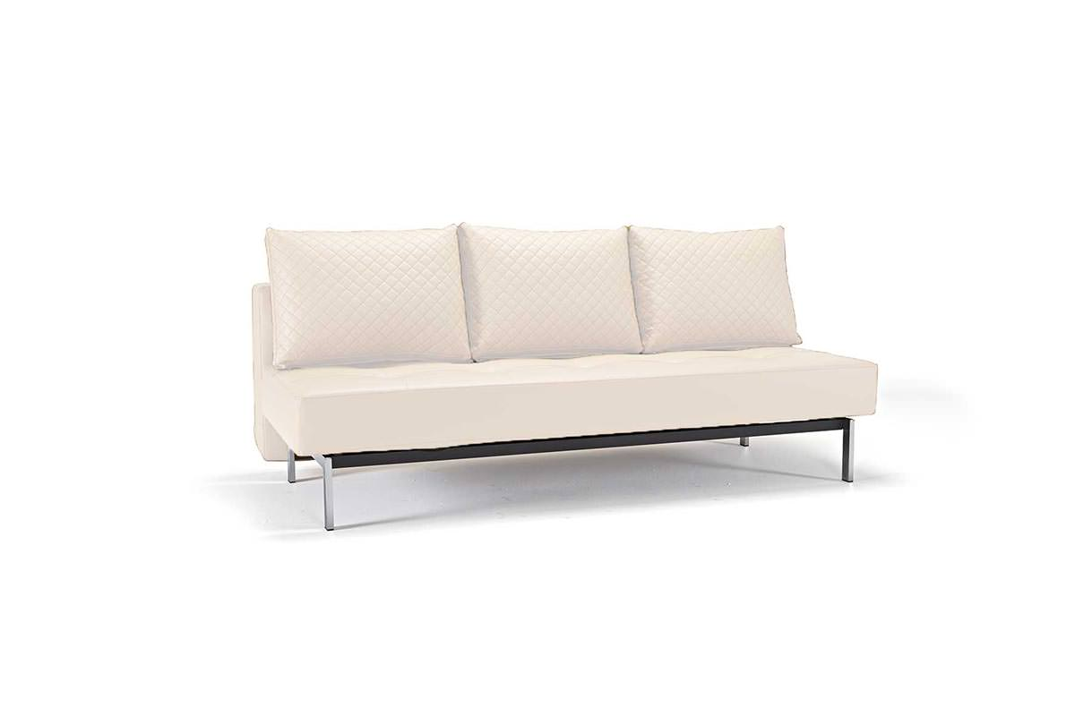 Sly Deluxe Q Sofa Bed White Leather Textile by Innovation