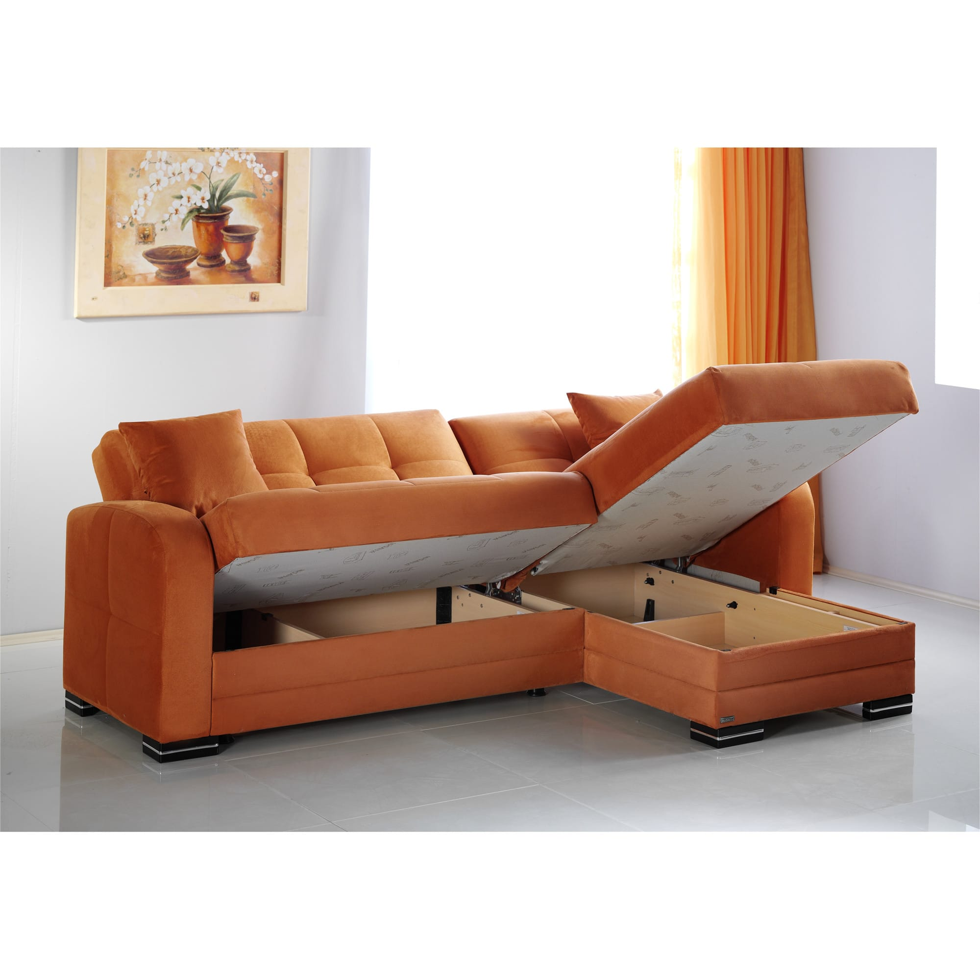 kubo rainbow orange sectional sofa by istikbal sunset - Chaise Orange