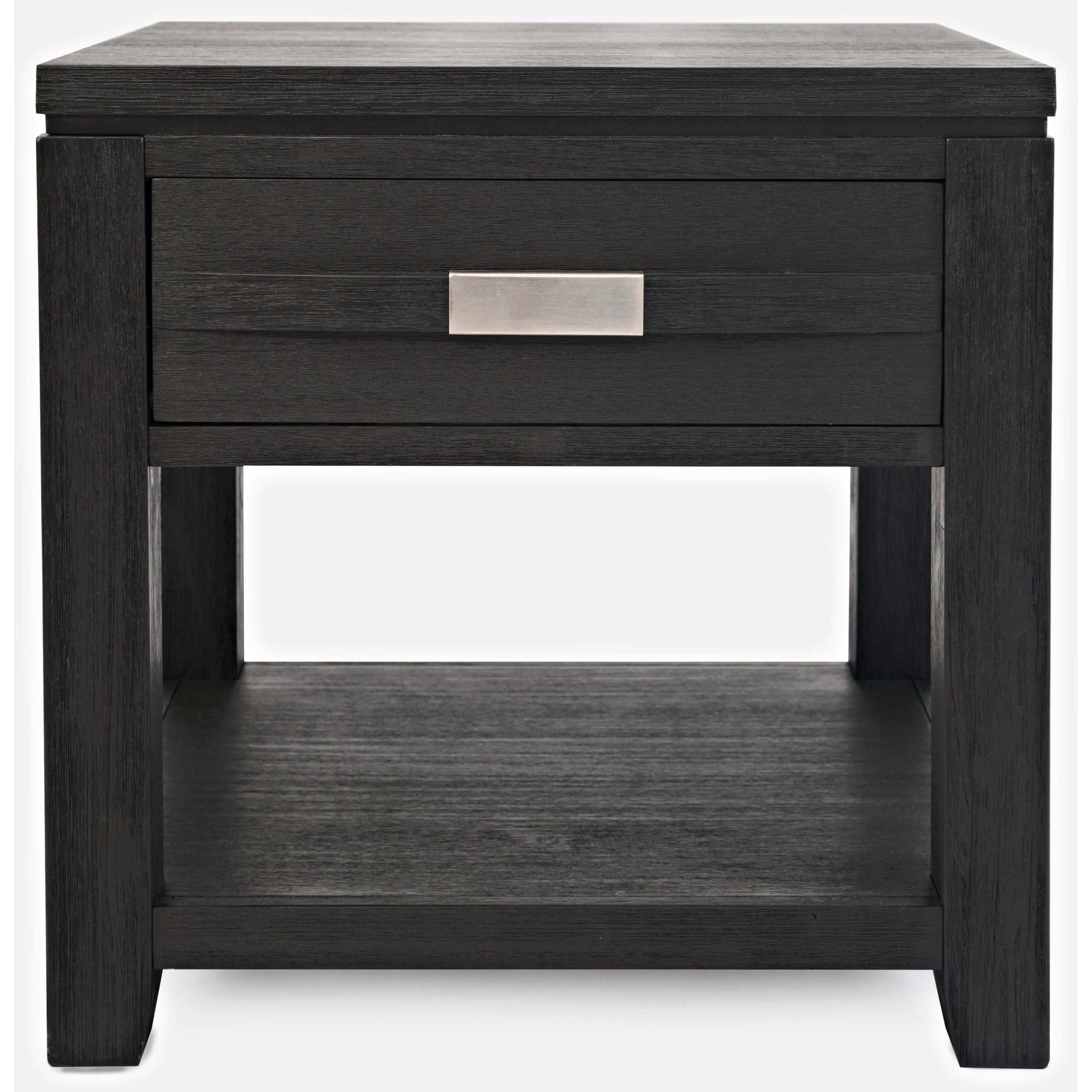 Picture of: Altamonte Black End Table W Drawer Shelf By Jofran Furniture