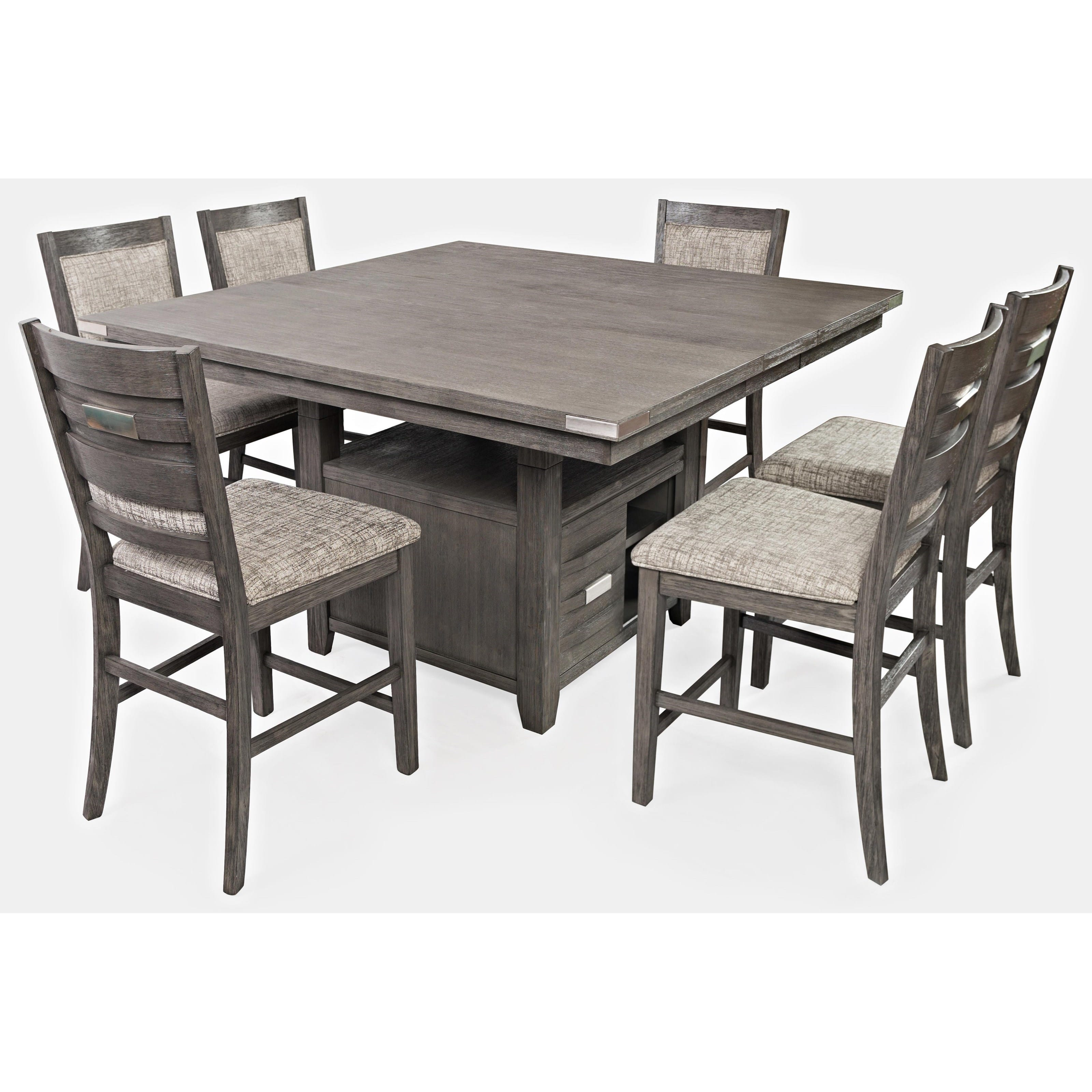 Altamonte Grey Wood Square Dining Table W Storage Base By Jofran Furniture