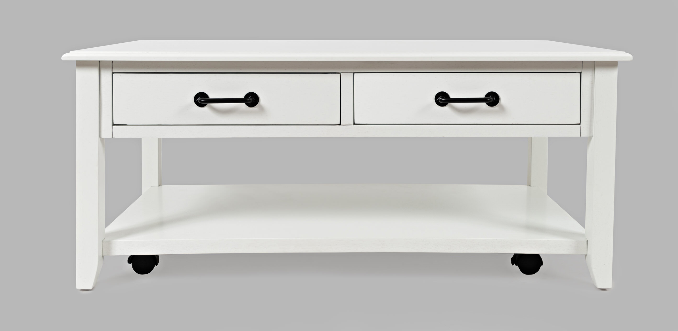 North Fork White 2 Drawer Castered Coffee Table By Jofran Furniture