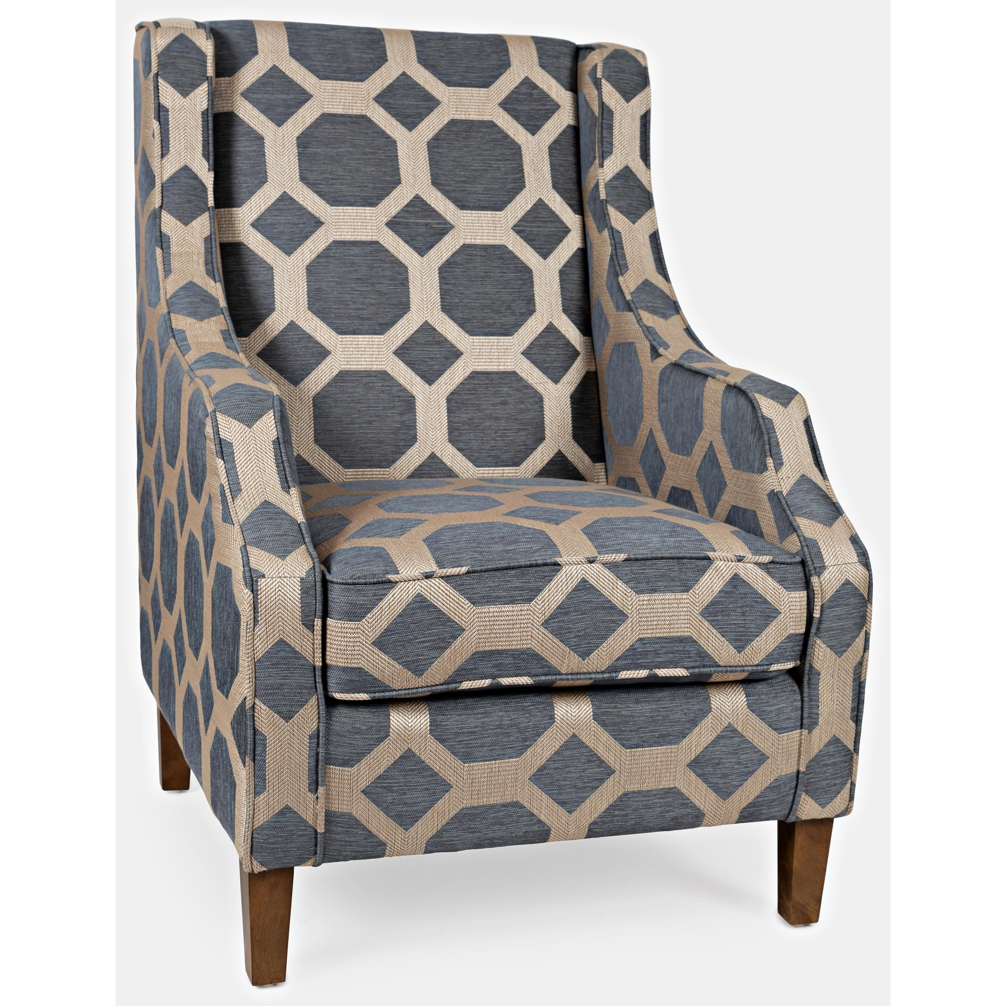 Grey Brown Fabric Accent Chair
