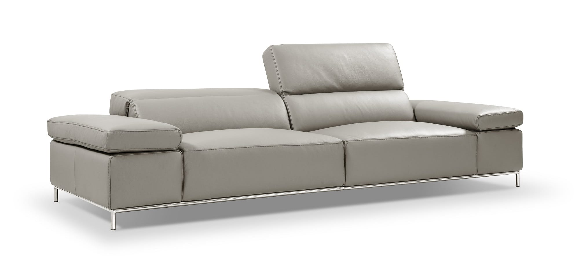 I800 Light Grey Leather Sofa By J M Furniture