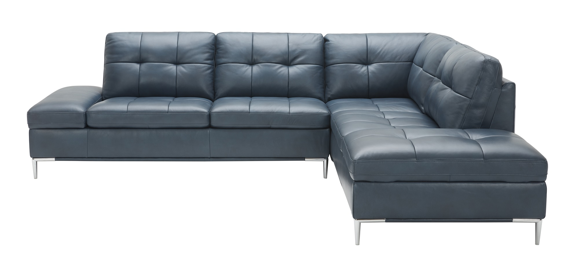 Leonardo Blue Leather Sectional Sofa W Storage By J M Furniture