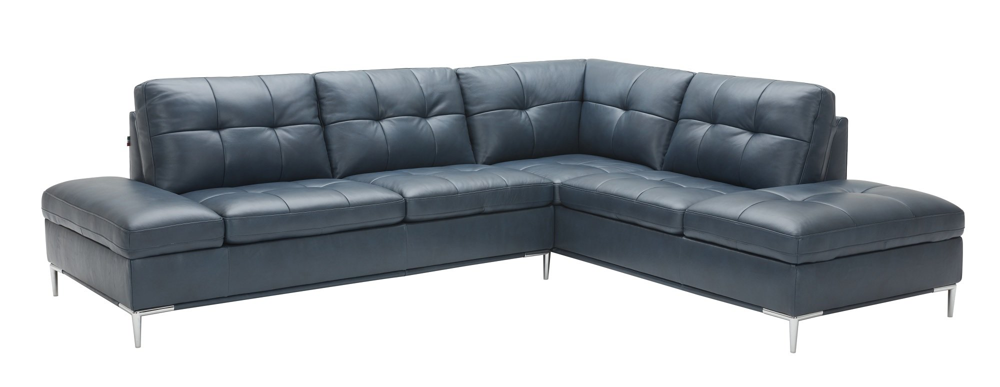 Leonardo Blue Leather Sectional Sofa w/Storage by J&M Furniture