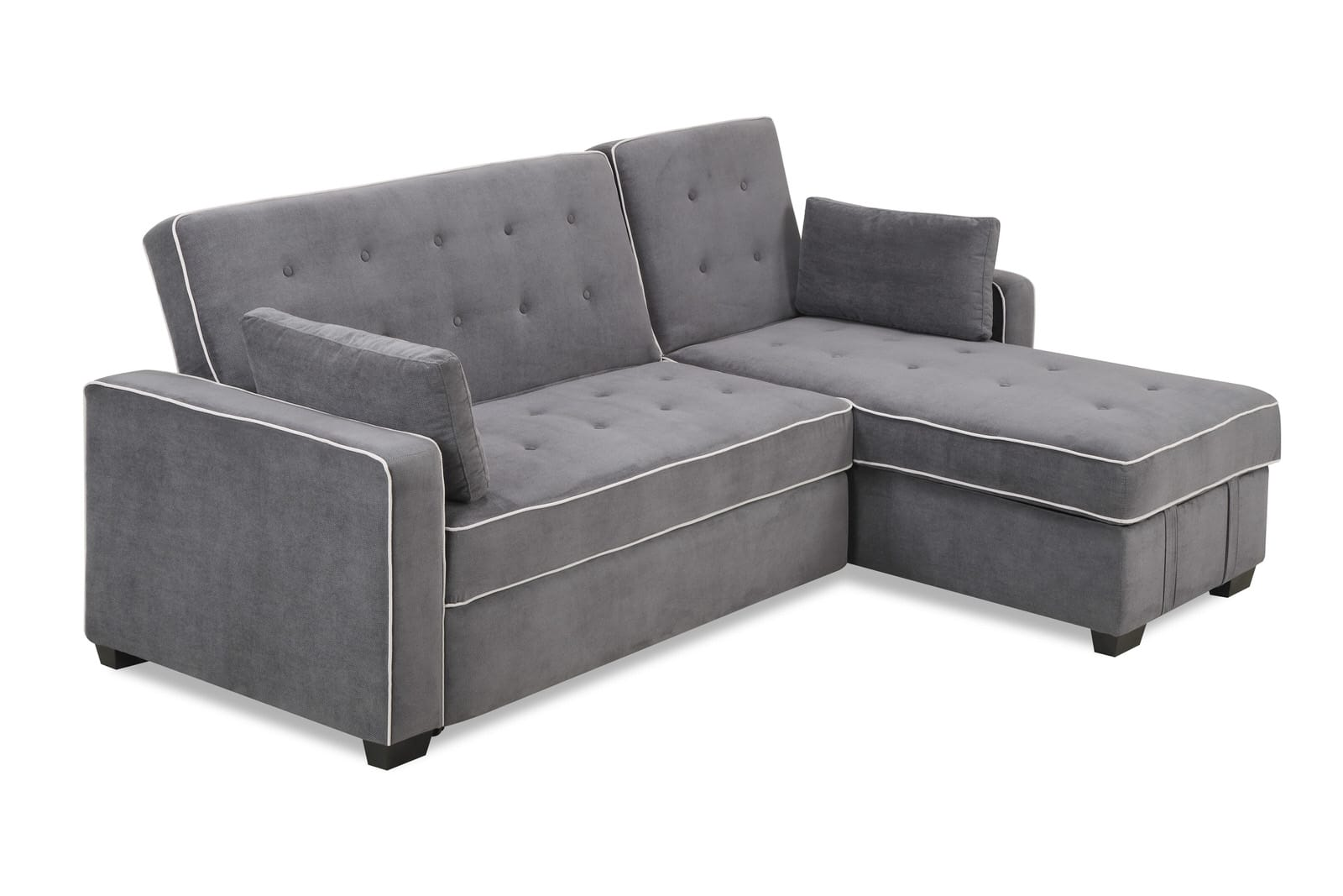 Augustine sectional moon grey by serta lifestyle for Chaise lounge convertible bed