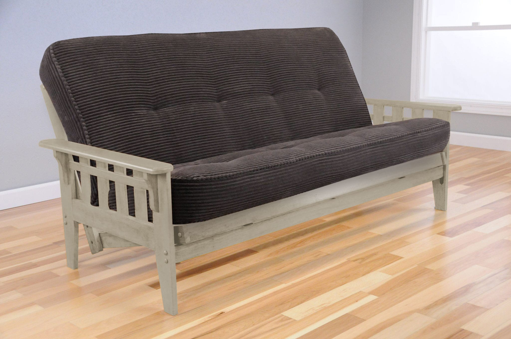 Premium Juno Full Size Light Gray Futon