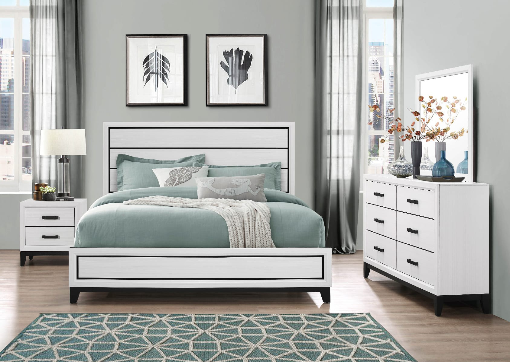 Kate White Bedroom Set by Global Furniture