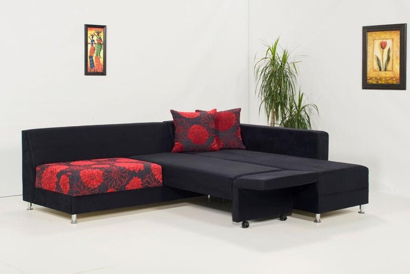 - Piano Black Microfiber Sectional Sofa By Kilim