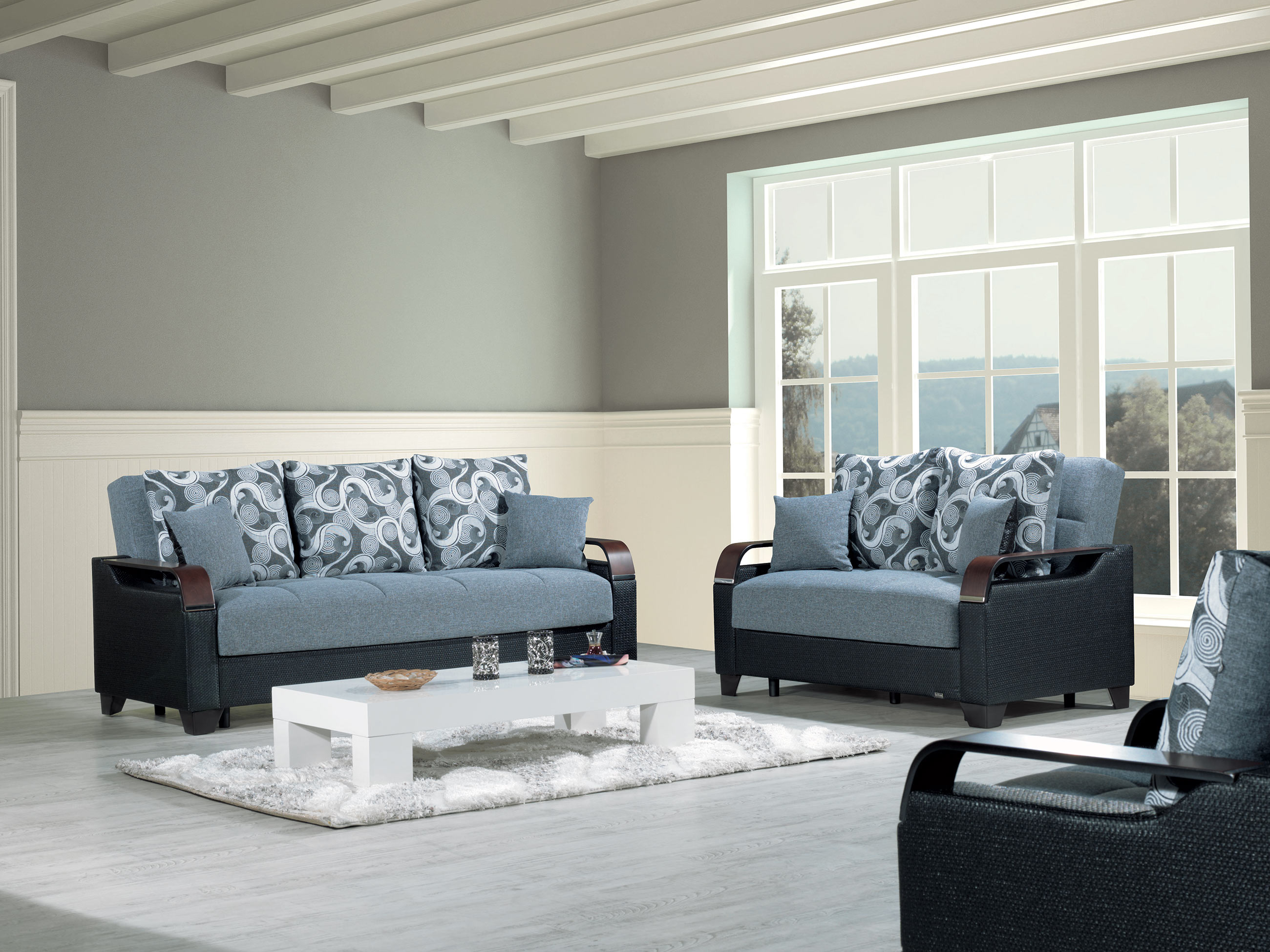Marvelous La Reina Moon Gray Convertible Loveseat By Casamode Gmtry Best Dining Table And Chair Ideas Images Gmtryco