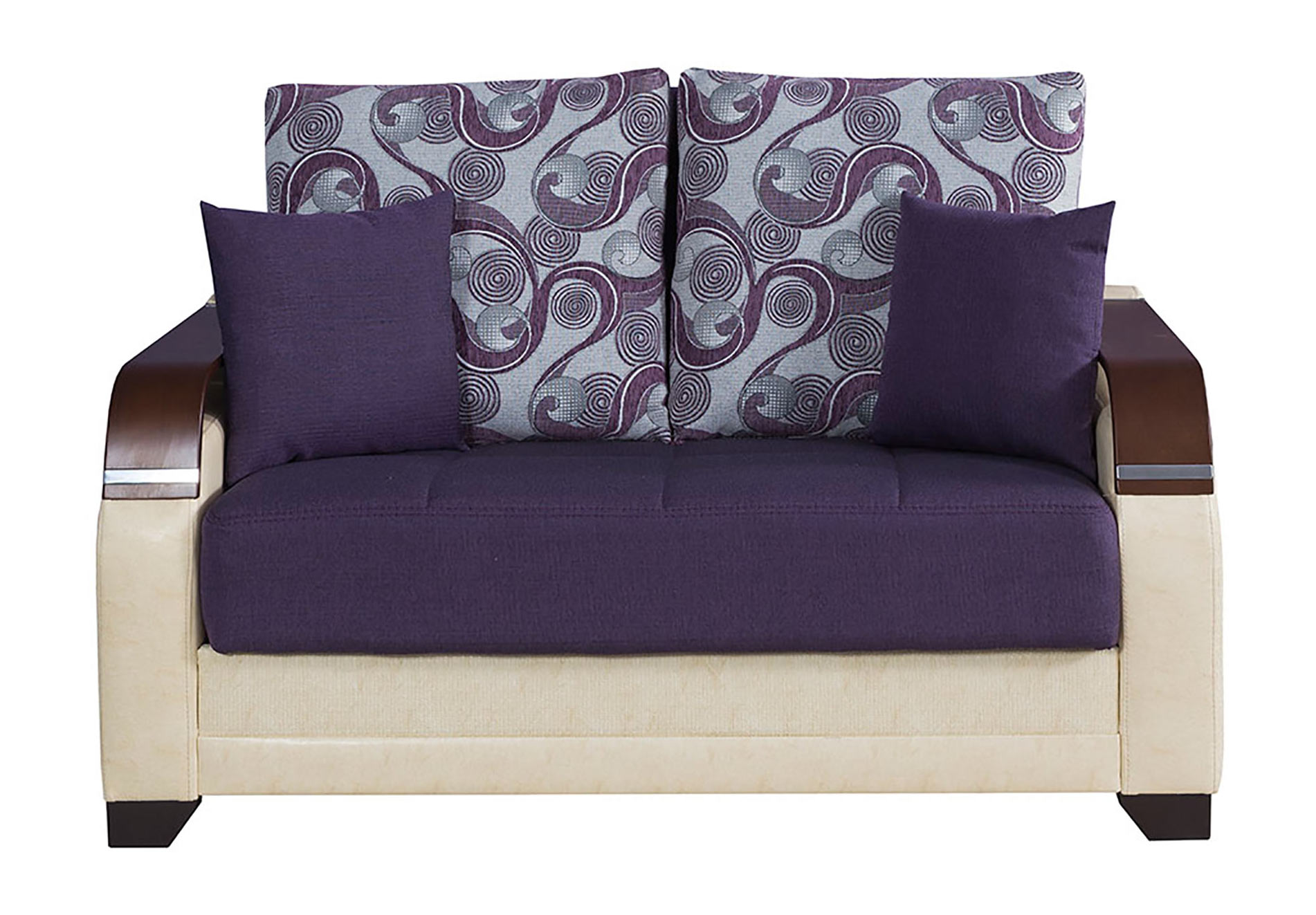 La Reina Moon Dark Purple Convertible Loveseat By Casamode