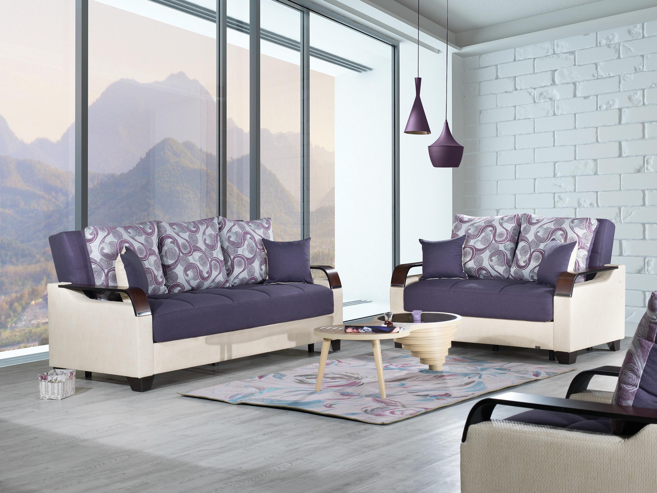 La Reina Moon Dark Purple Convertible Sofa Bed By Casamode