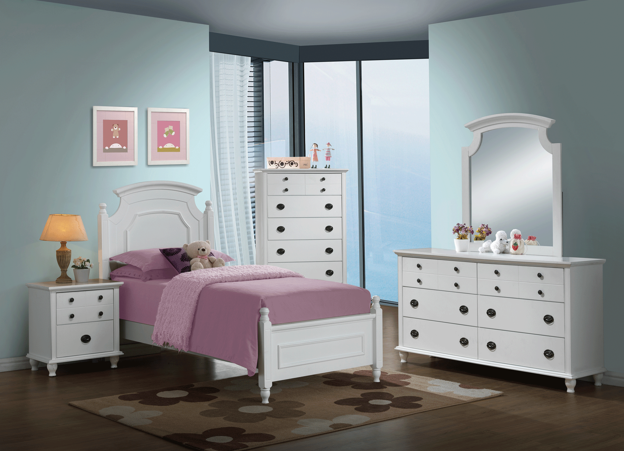 Leila Kids White Bedroom Set By Global Furniture