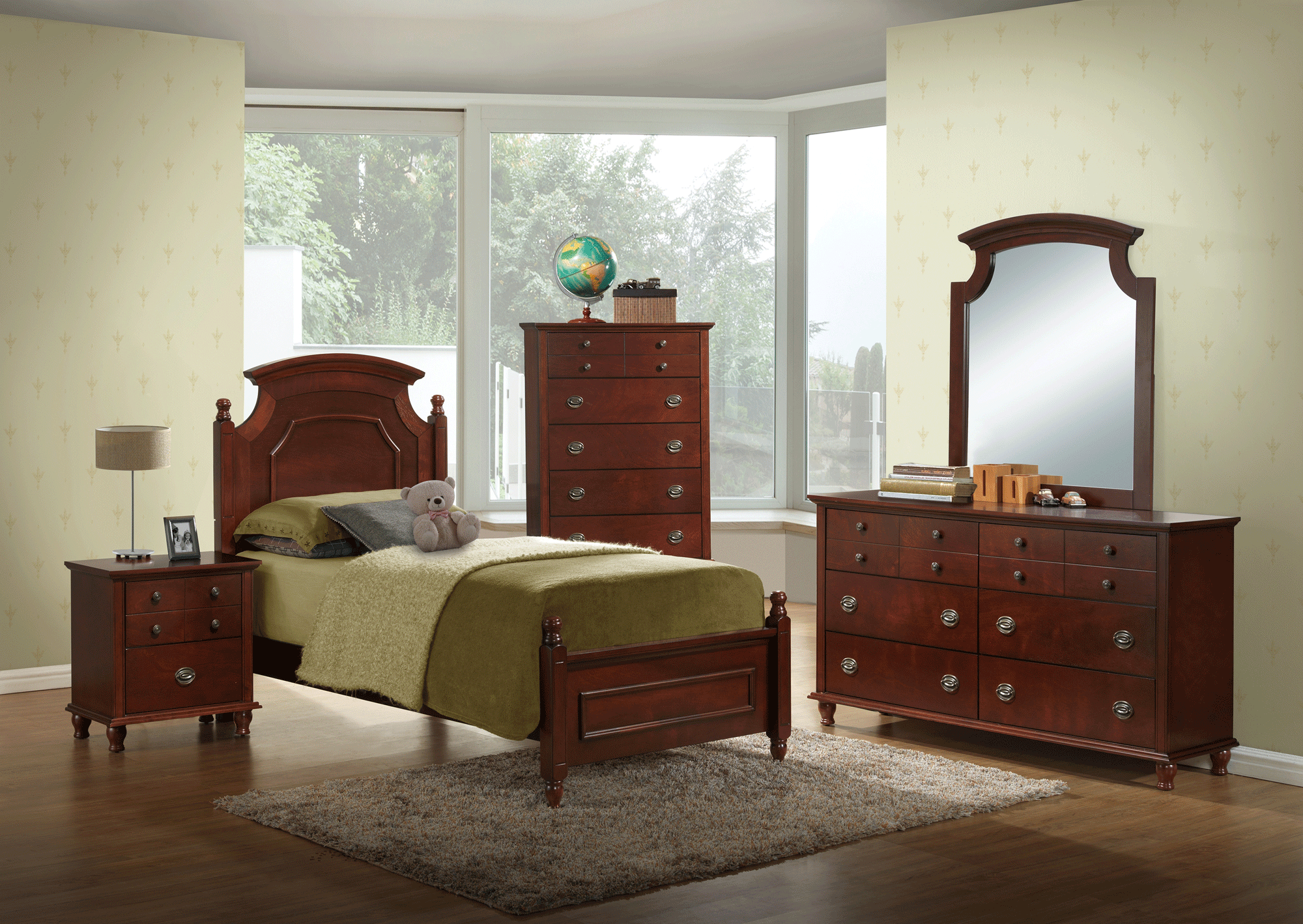 Leila Kids Cherry Bedroom Set By Global Furniture