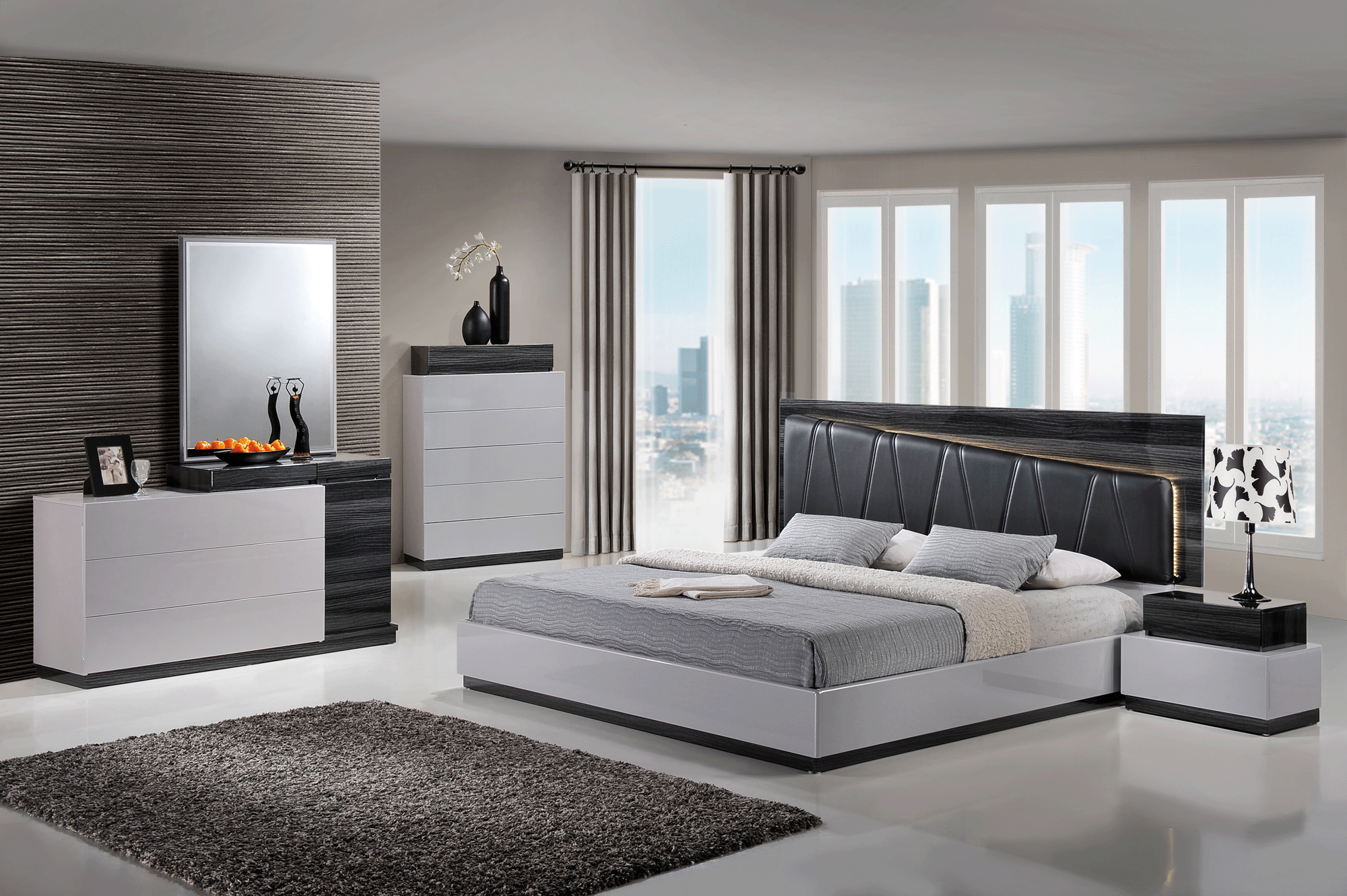 Lexi Silver Line & Zebra Grey Black PU Bedroom Set by Global Furniture
