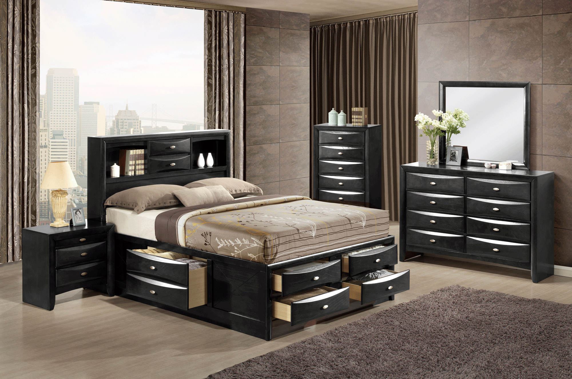 Linda Black Bedroom Set By Global Furniture