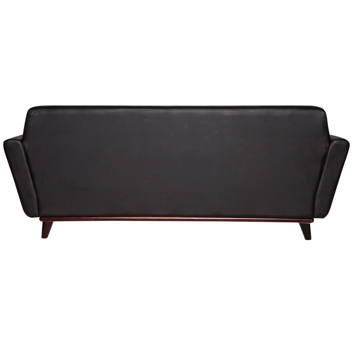 Luray Modern Tufted Sofa with Cherry Oak Base in Black Leather by LeisureMod