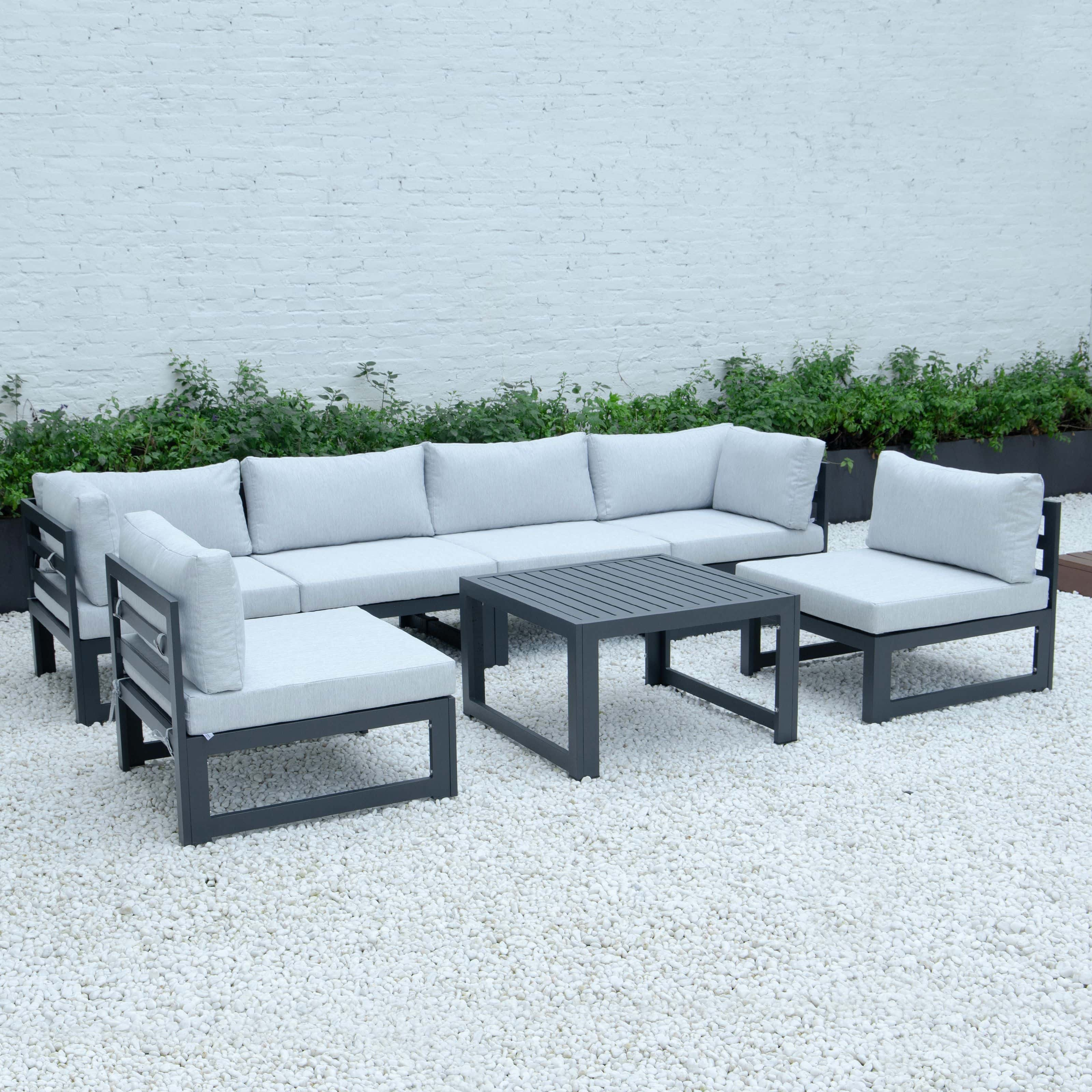 Chelsea 7 Piece Patio Sectional And Coffee Table Set Black Aluminum With Cushions Light Grey By Leisuremod