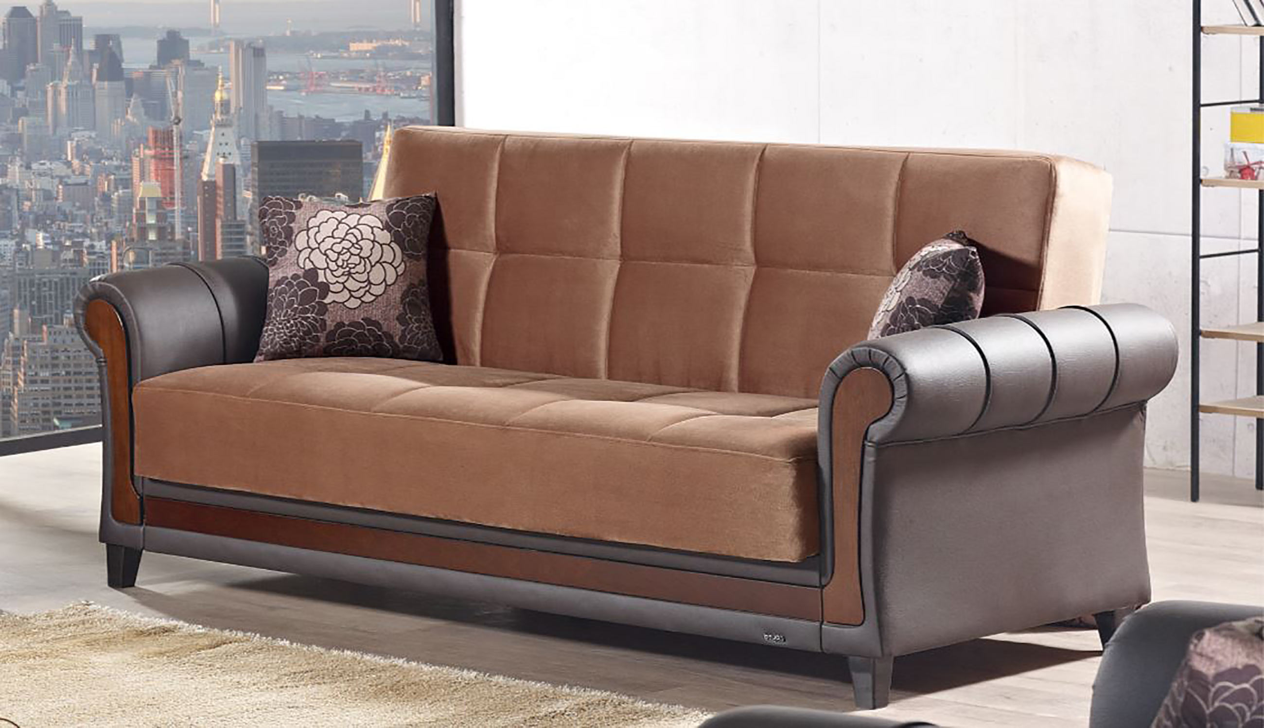 Long Island Brown Fabric Sofa Bed By Empire Furniture USA