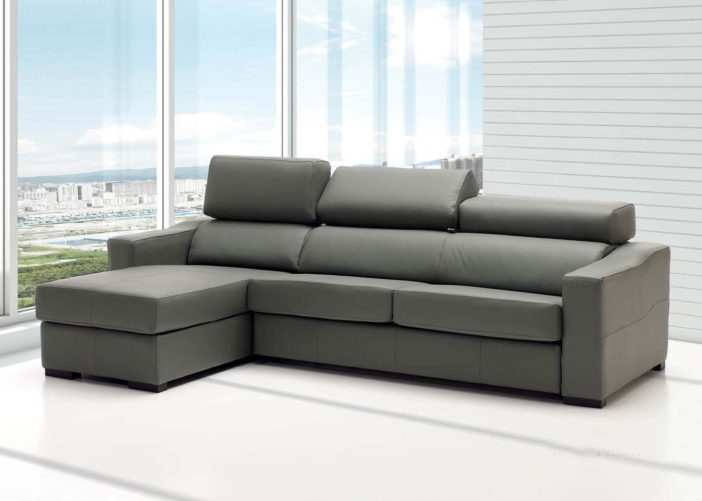 Lucas Grey Leather Sectional With Sleeper By Esf