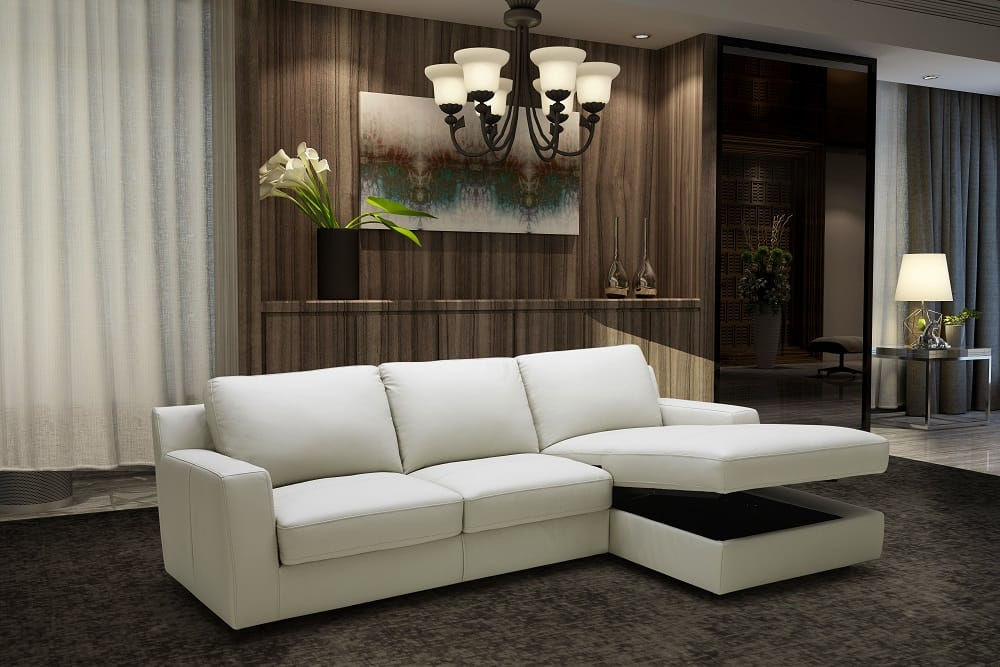 Lauren Premium Italian Leather Sectional Sleeper by J&M Furniture