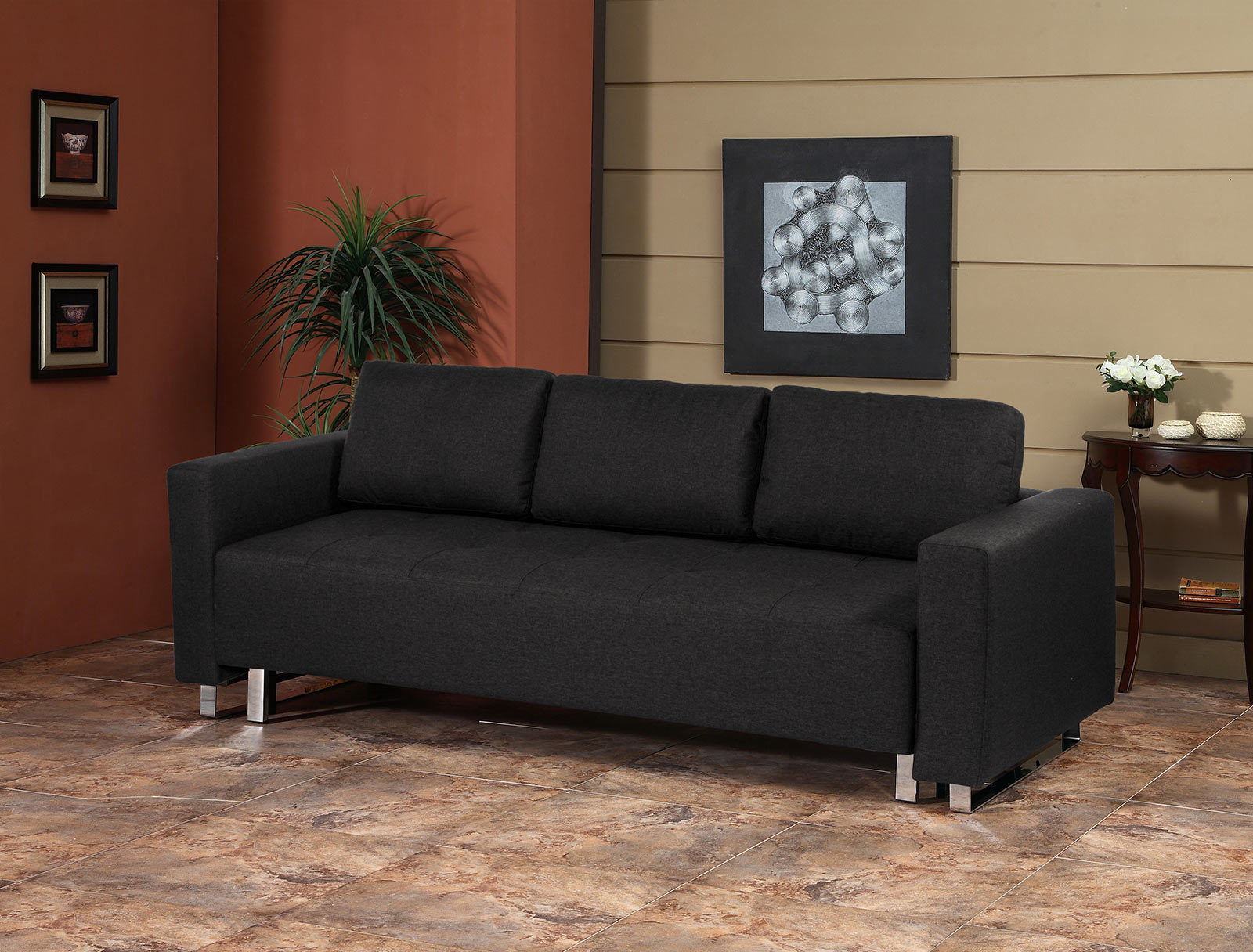 Lincoln Park Convertible Sofa Bed Charcoal by Serta Lifestyle