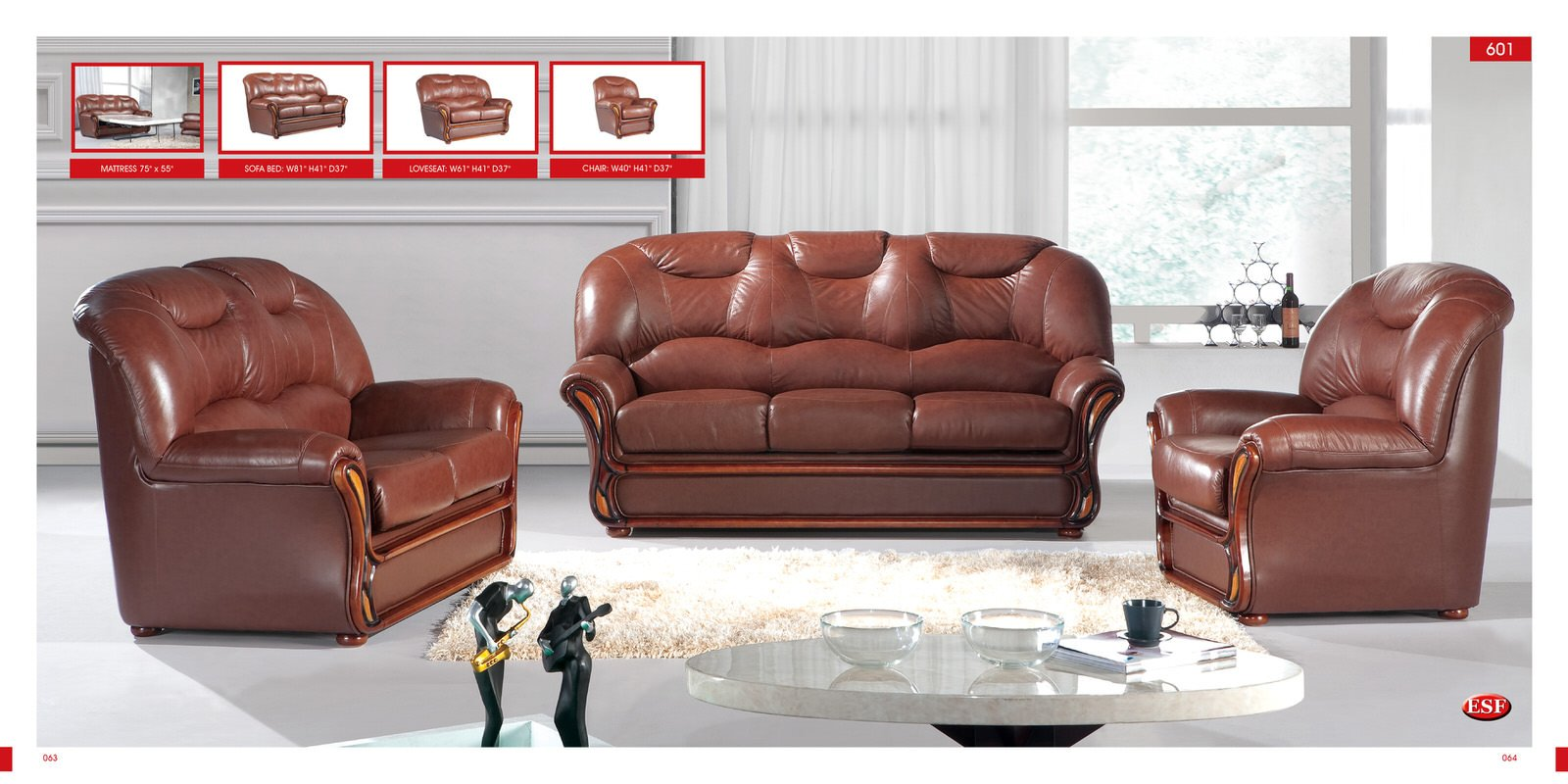 Sofa bed 601 brown leather by esf for Leather living room furniture