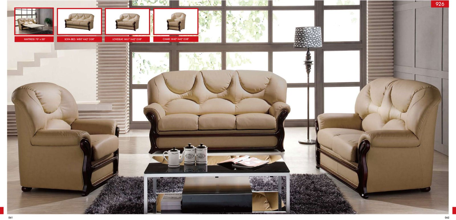 926 almond leather loveseat by esf
