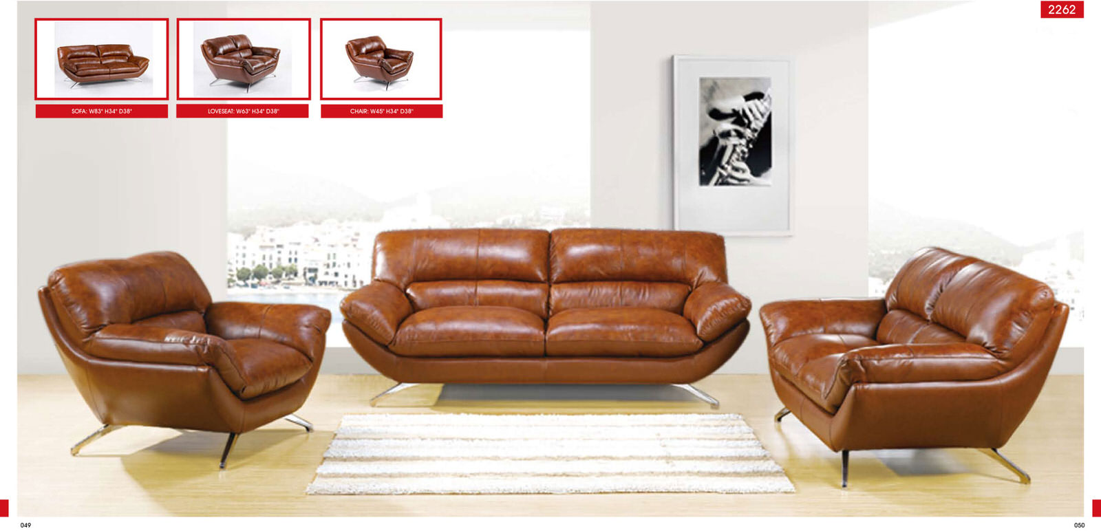 Sofa chair 2262 leather by esf - Modern living room chair ...