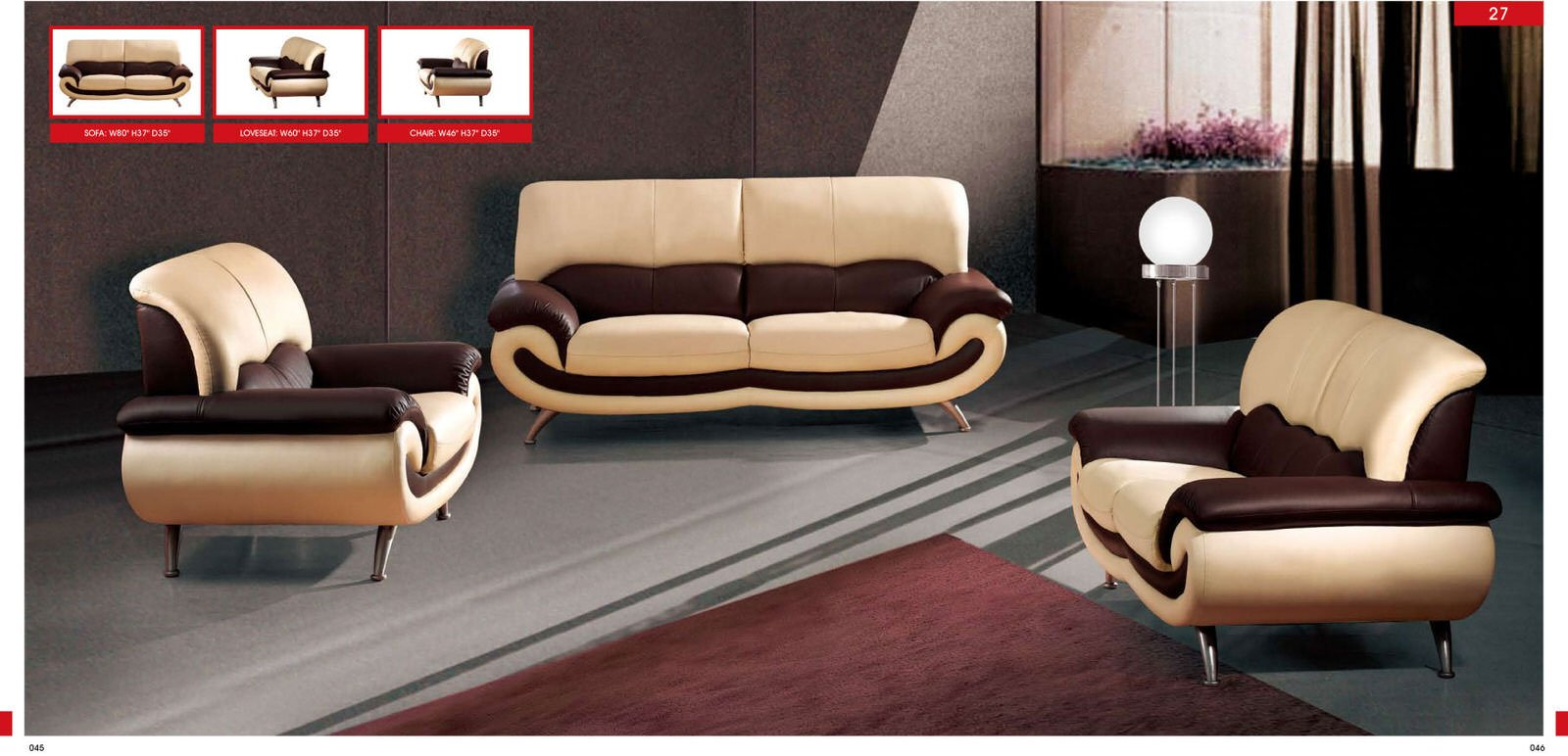 27 Cream Leather Sofa
