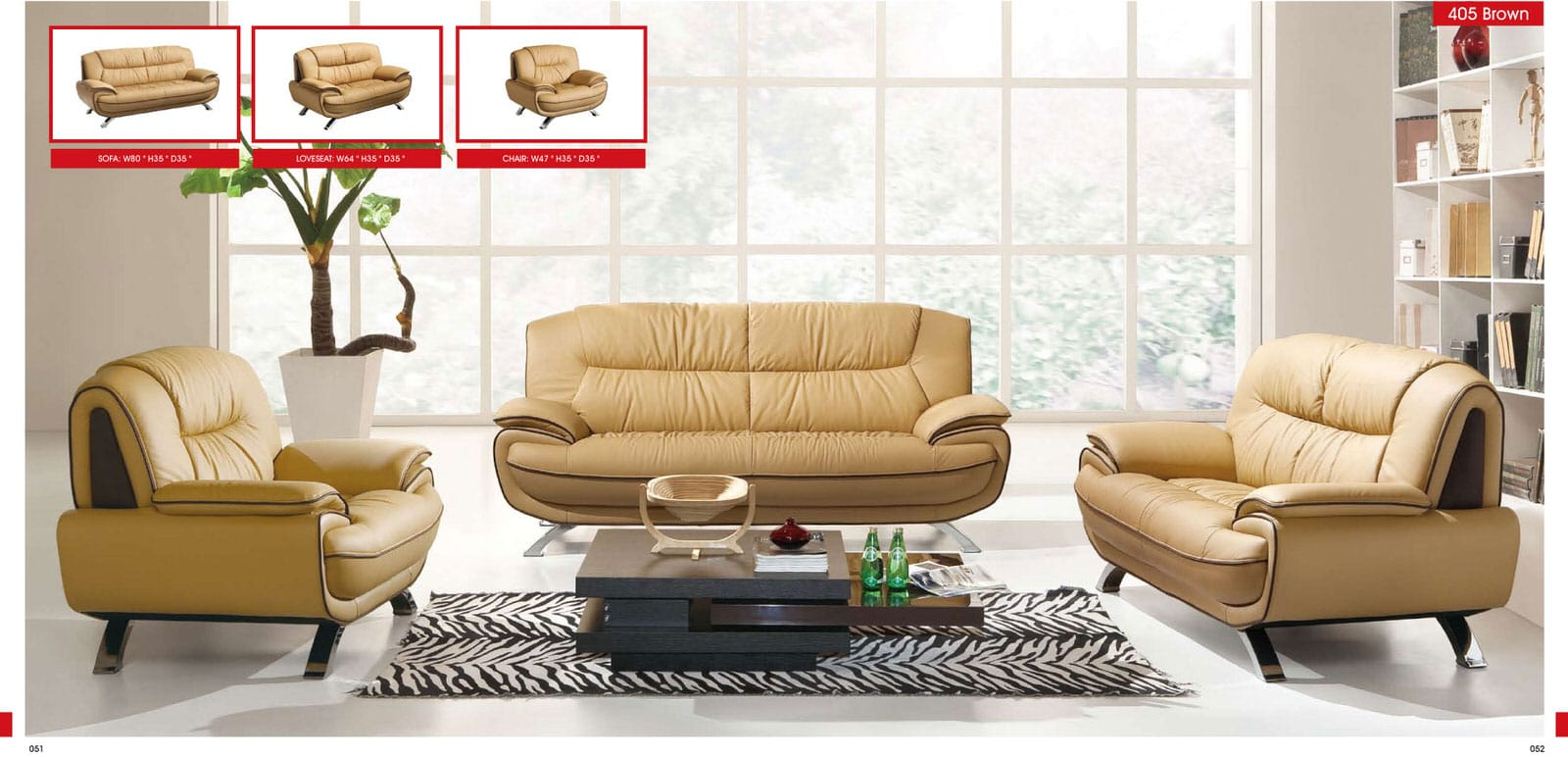 405 brown leather sofa set by esf for Living room modern furniture