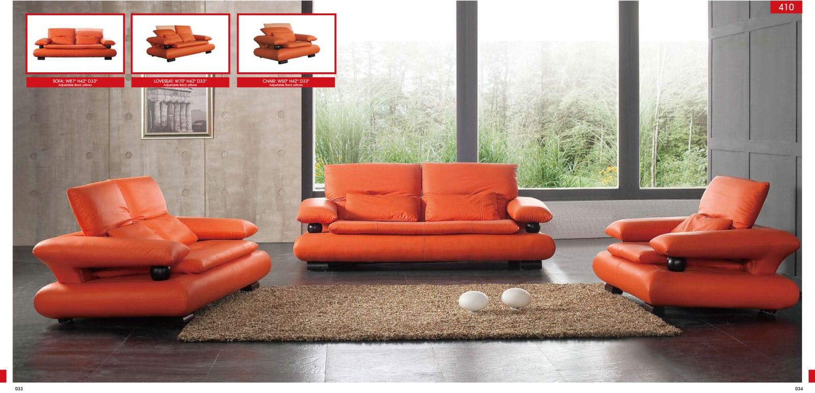410 orange leather sofa