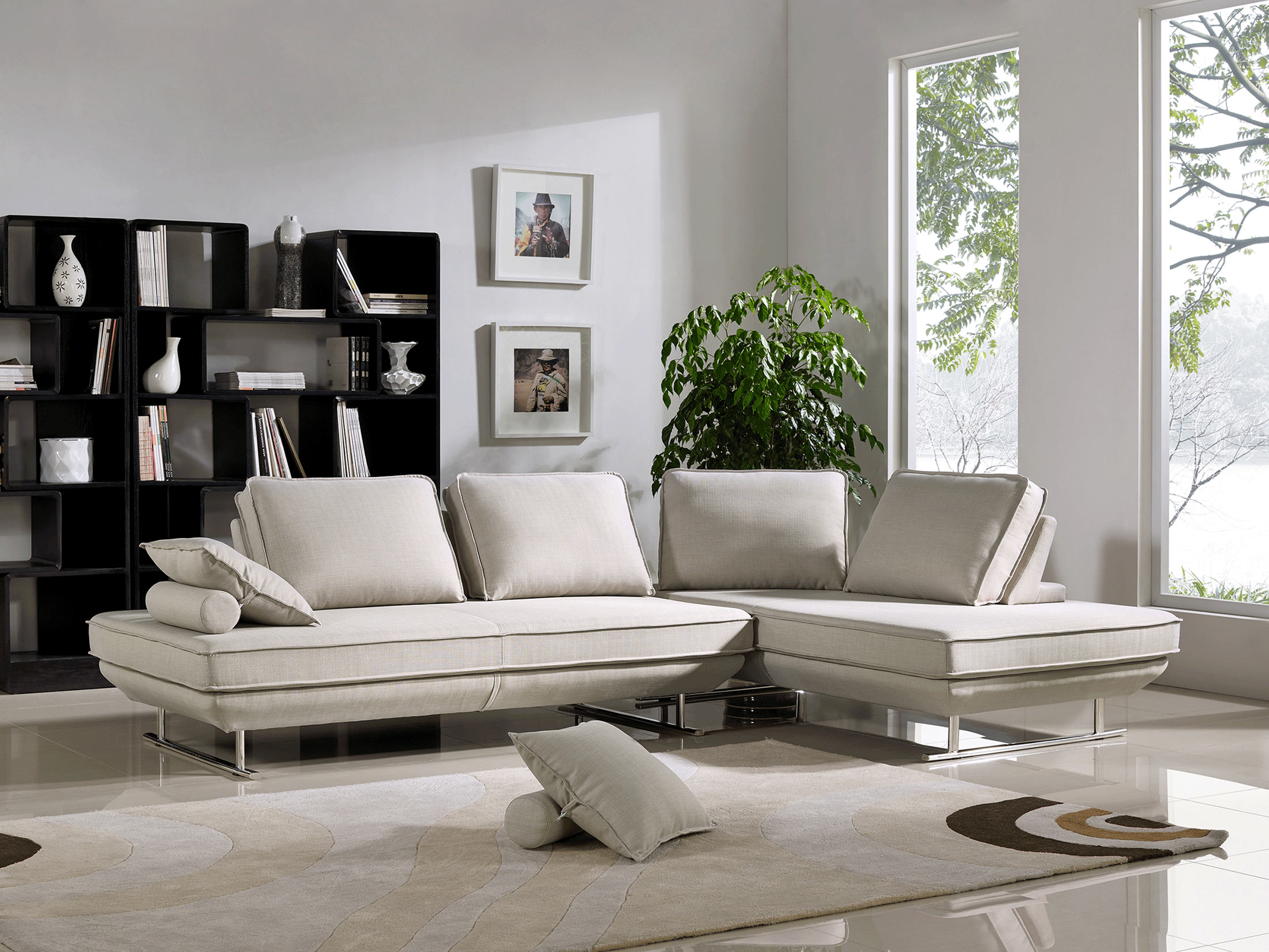 Terrific Bergamo Conversible Sectional Beige By Esf Uwap Interior Chair Design Uwaporg
