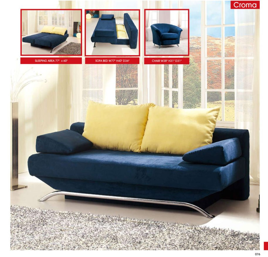 Croma Blue Fabric Sofa Set By Esf